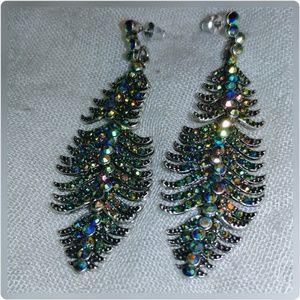 Crystal studded feather earrings.